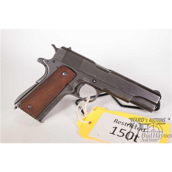 Restricted handgun Remington Rand model M1911 A1 US Army, 45 ACP eight shot semi automatic, [Blued f