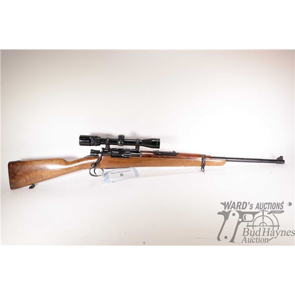 """Non-Restricted rifle Mauser 8mm bolt action, w/ bbl length 23"""" [Blued barrel and receiver. Fixed fro"""