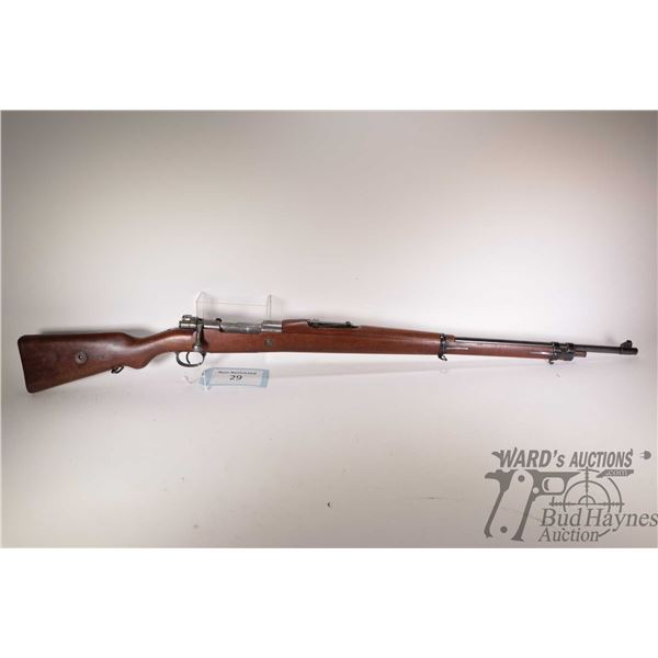"""Non-Restricted rifle Mauser model 1908, Presumed 7X57mm Mauser bolt action, w/ bbl length 29 1/2"""" [B"""