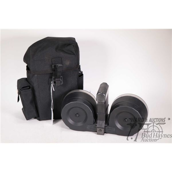 KCI AR 15 100 Round Mag and a speed loader in canvas carry pouch