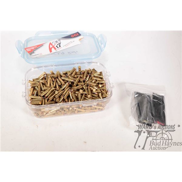 Clear Tupperware style container indicating 529 rounds of CCI A17 Varmit Tip ammo. and three .22 cal