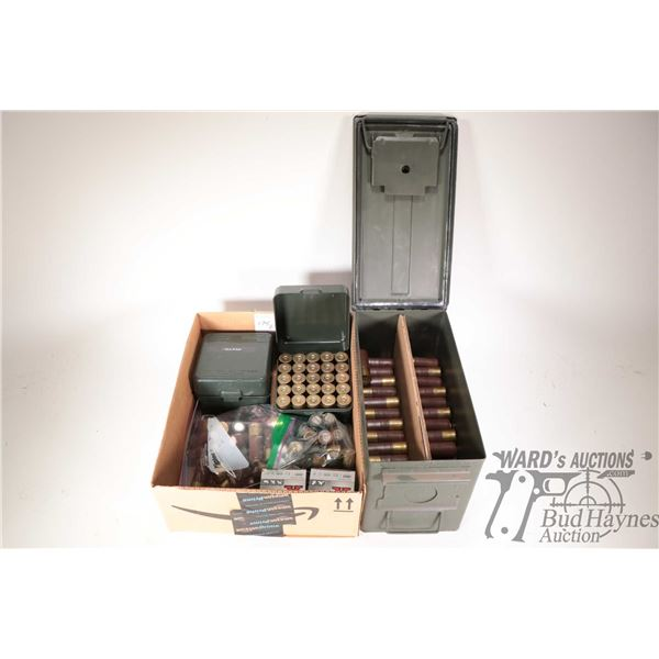 Green metal ammo can with approximately one hundred 10 gauge shot gun rounds. Two 25 count Case-Gard