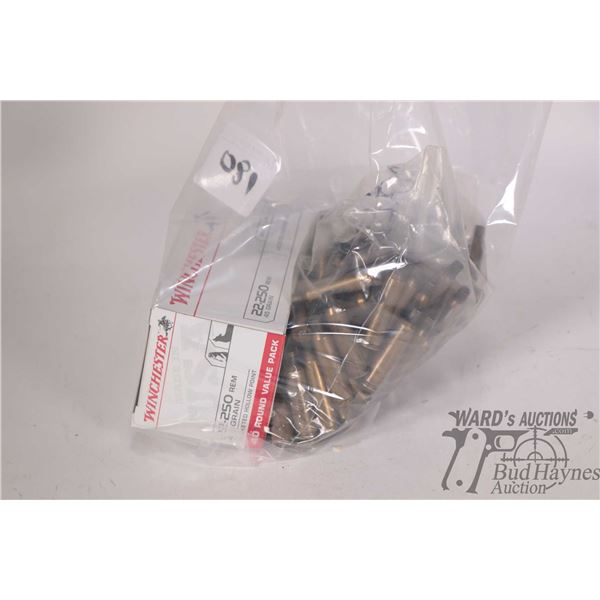 Full 40 count box of Winchester 22-250 Rem 45 grain ammo. and bag of approximately 100 used brass.