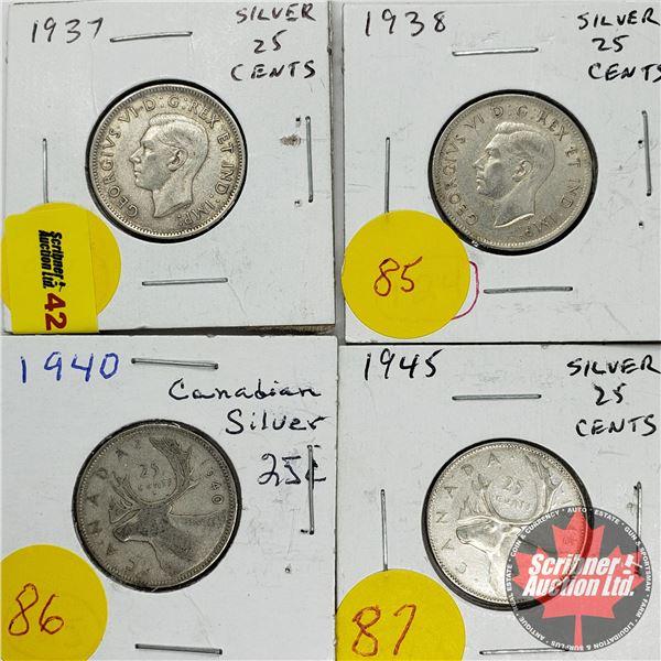 Canada Twenty Five Cent (4): 1937; 1938; 1940; 1945