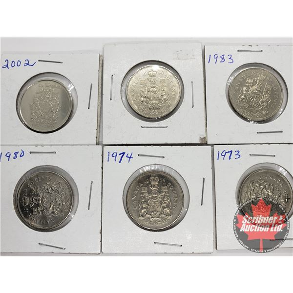 Canada Fifty Cent (6): 1973; 1974; 1980; 1983; 1990; 2002