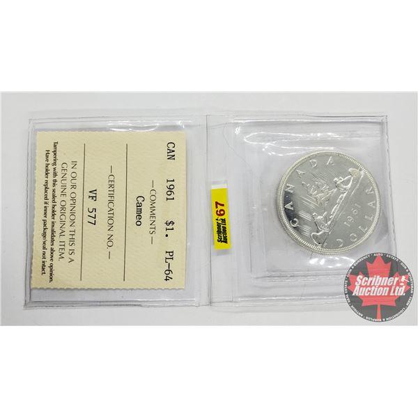 Canada Silver Dollar 1961 Cameo (ICCS Cert: PL-64)