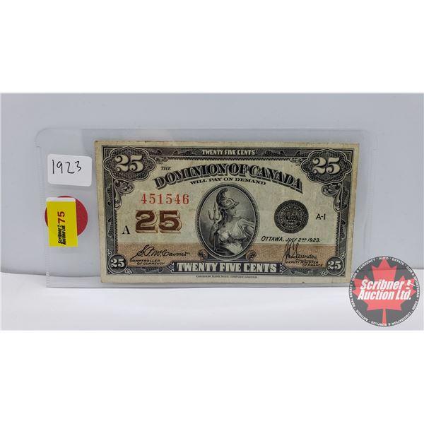 "Dominion of Canada Twenty Five Cent ""Shinplaster"" 1923 (S/N#451546)"