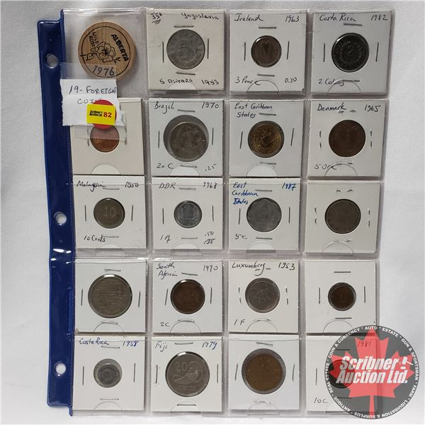 """Foreign Coin Collection (Sheet of 19) Variety + 1 Alberta Wooden Token 1976 """"Wild Rose"""""""