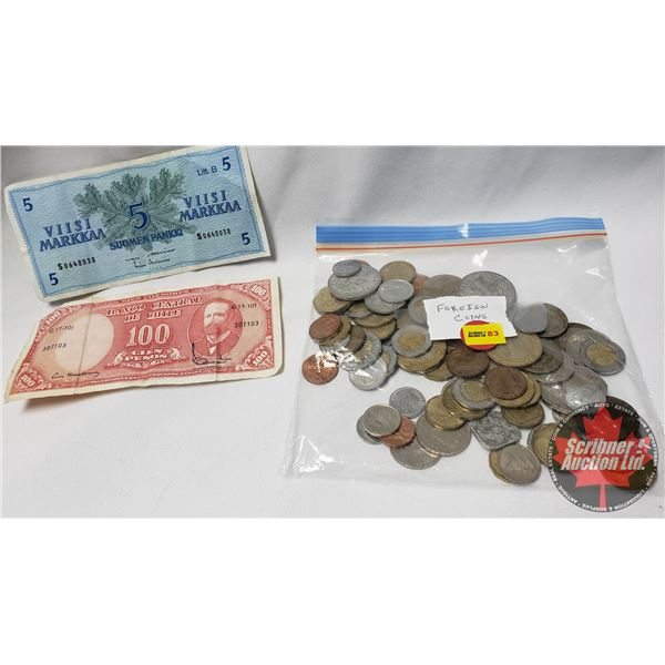 Collection - Variety Foreign Coins (75) & 2 Banknotes (Chile & Finland)