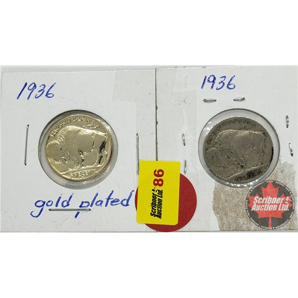 US Nickel (2): 1936 Gold Plated; 1936