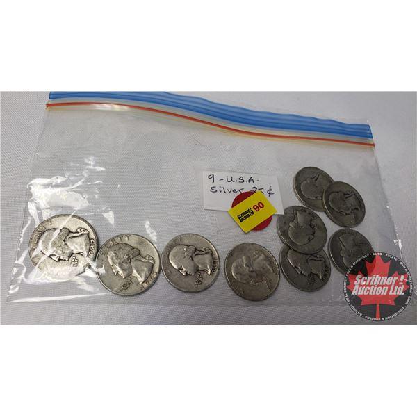 US Quarters (9): 1934; 1936; 1936; 1937; 1939; 1941; 1941; 1941; 1942