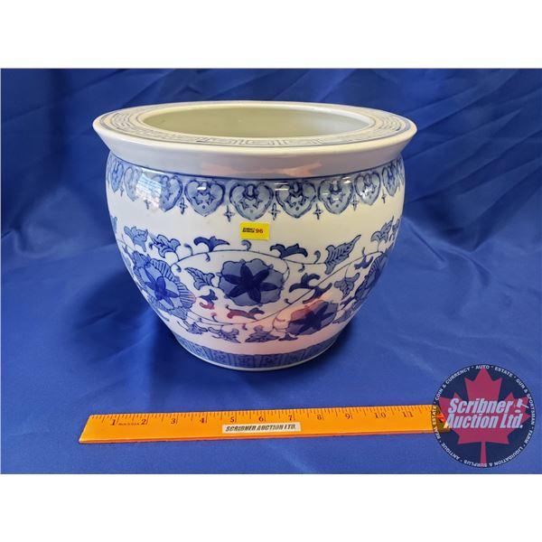 """Blue/White Glazed Planter Pot (9""""H x 12""""Dia)"""