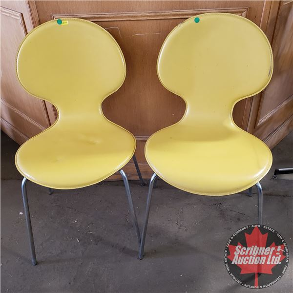 """2 Retro Balloon Back Leather Chairs (Yellow) (34""""H)"""