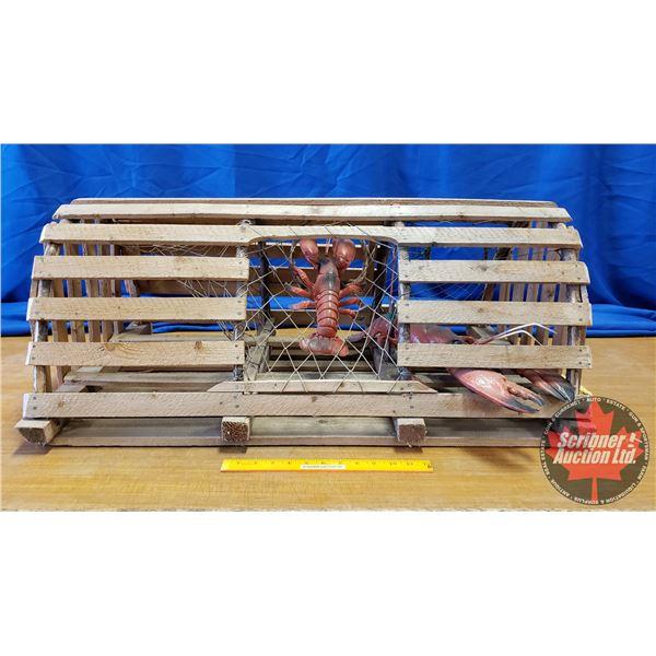 """Lobster Trap w/2 Plastic Lobsters (15""""H x 35""""W x 22""""D)"""