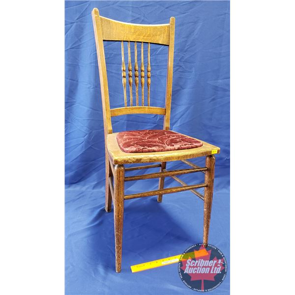 """Wooden Spindle Back Chair w/Upholstered Seat (36-1/2"""")"""