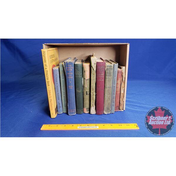 Tray Lot: Antiquarian Books (School Books, Account Ledger, Novels)