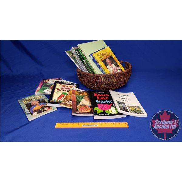 Tray Lot: Gardening Books & Basket