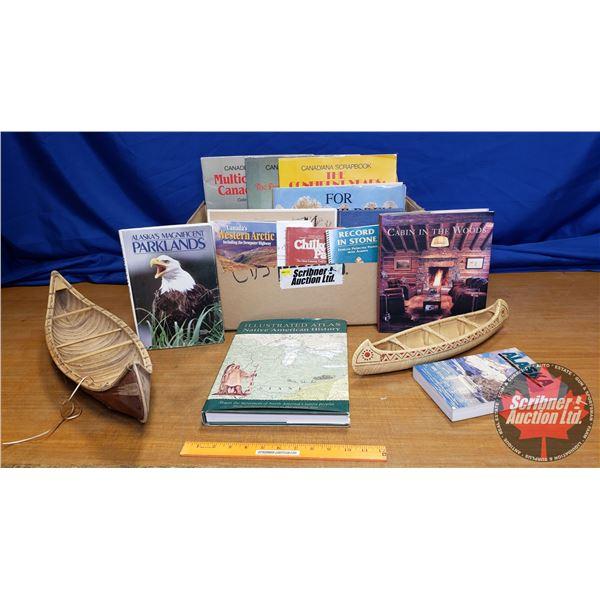 Box Lot: Canadian Historical Books & 2 Birchbark Décor Canoes