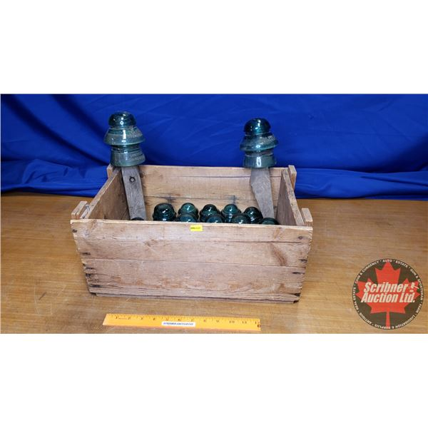 Large Collection of Glass Insulators with Wooden Box (See Pic)
