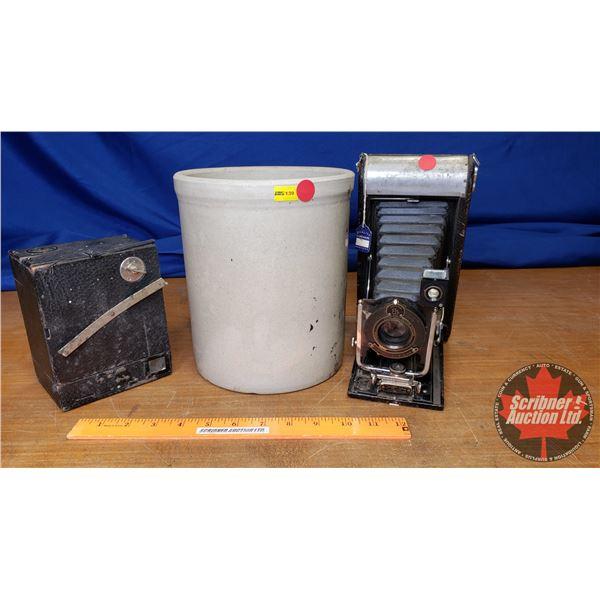"Crock & 2 Vintage Cameras (Crock 9""H)"