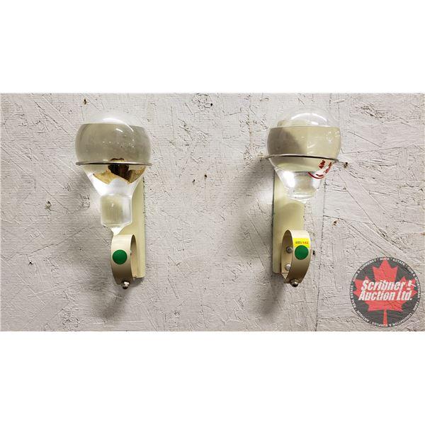 Clear Liquid Glass Ball Fire Extinguishers in Original Wall Hangers (2)