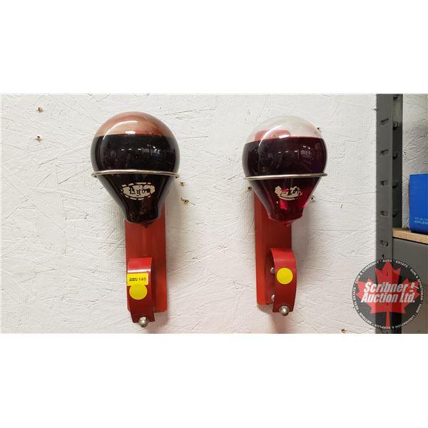 Red Liquid Glass Ball Fire Extinguishers in Original Wall Hangers (2)