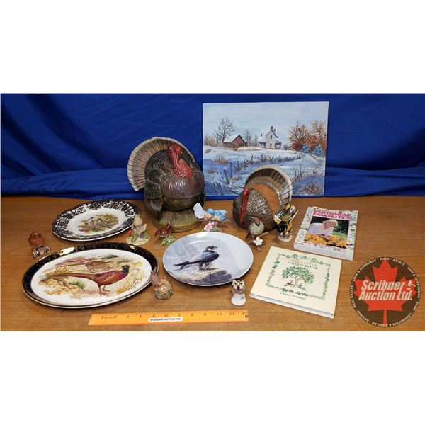 Box Lot: Variety of Bird Ornaments, Books, Plates & Painting