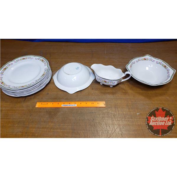 "China Set: ""Parkeek Johnson Brothers England"" 8 Plates, 2 Bowls 1 Gravy Boat"