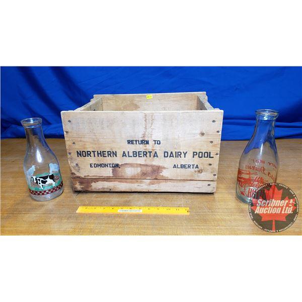 "Northern Alberta Dairy Pool Wood Crate w/Milk Bottles (2) (10""H x 17""W x 12-1/2""D)"