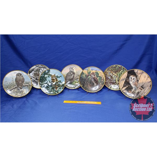 Box Lot: Noble Owls of America Collector Plates (7) (w/Plate Holders)