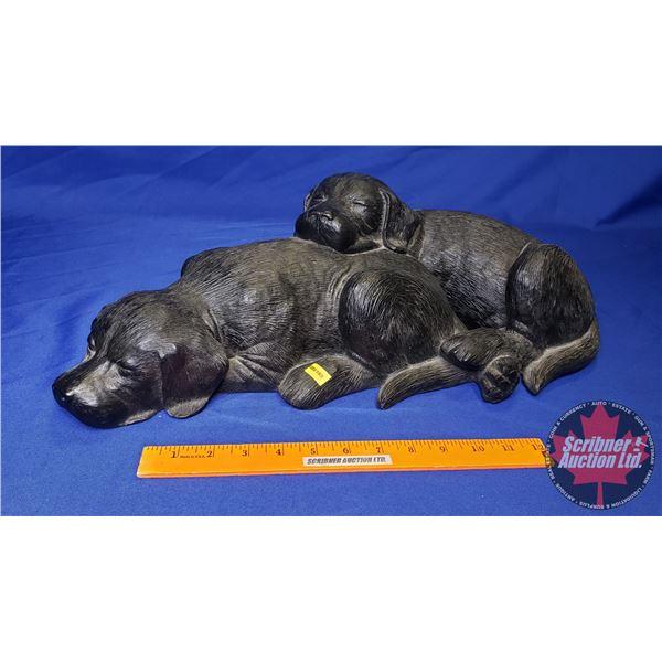 """Ducks Unlimited : Black Lab Puppies Statue (20-1/2""""W)"""