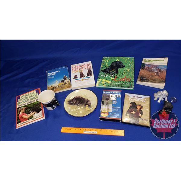 Tray Lot: Dog Training Books, DVD, VHS, etc