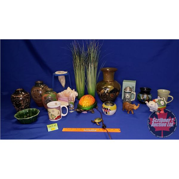 Shelf Lot: Travel Theme Ornaments (Incl: Large Conche Shell, Vases, Stein, etc)