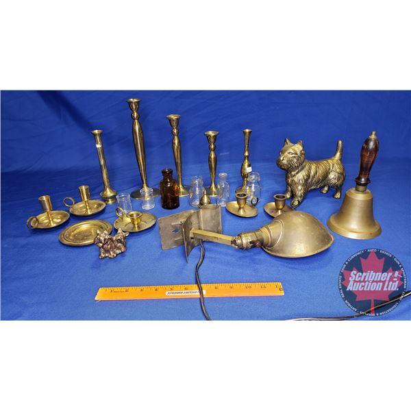 Shelf Lot: Brass (Incl: Lamp, Bell, Candelabras, etc)