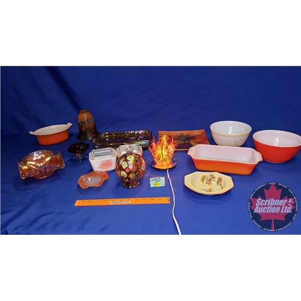 Shelf Lot: Orange Theme (Incl: Fireking Dishes, Iridized Glass Dishes, Cut Crystal Diamond Weight, e