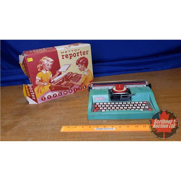 """Vintage Children's Toy Typewriter """"Mettoy Reporter"""" (Great Britain) (In Box)"""