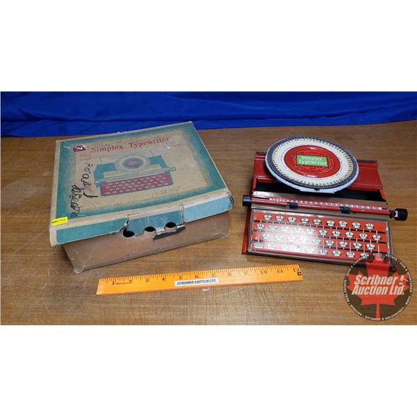 """Vintage Children's Toy Tin Typewriter """"No 300 (Great Britain) (In Box)"""