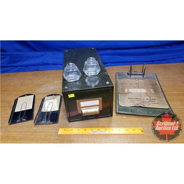 Vintage Filing Drawer w/Cupboards & Ink Wells