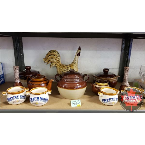 Collector Combo (Shelf Lot): Country Kitchen (Incl. Bean Pots, Coffee Pots, Rooster, etc) Must See P