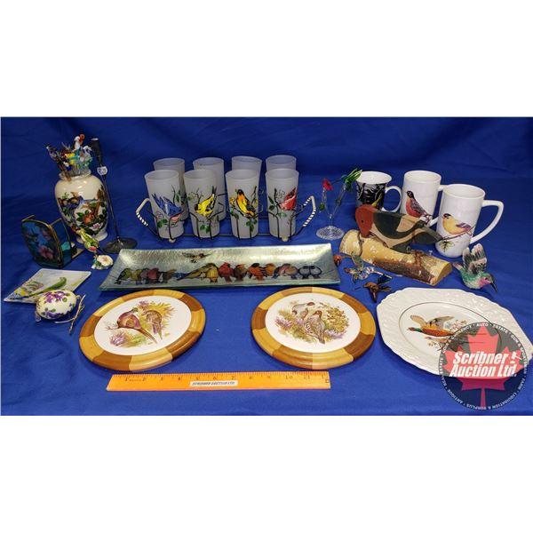 Box Lot: Bird Theme (Incl. Glass Tumblers in Carry Case, Wood Pecker Plate, Glass Stir Sticks, etc)