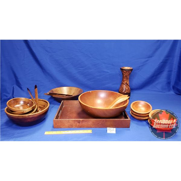 Collector Combo (Shelf Lot): Treenware (Incl. Salad Bowls, Serving Tray, Vase, etc) Must See Pics!