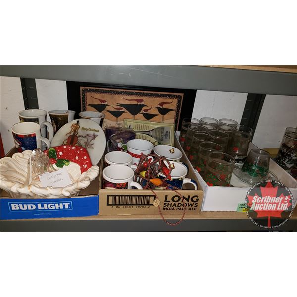 Collector Combo (Shelf Lot): Christmas Theme (Incl. Glasses, Mugs, Wire Markers, etc) Must See Pics!