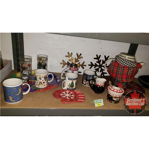 Collector Combo (Shelf Lot): Christmas Theme (Incl. Tea Pot, Cream Sugar, Serving Trays, Coffee Mugs