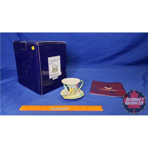 Franz Porcelain Collection : Porcelain American Gold Finch/Thistle Cup & Saucer Set