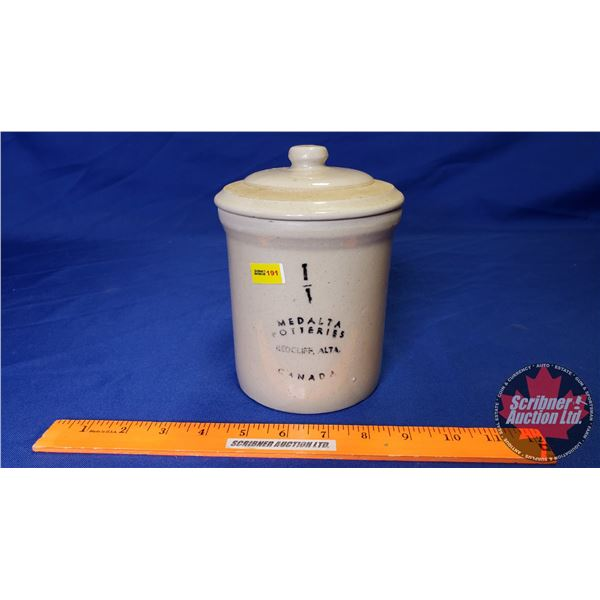 """Medalta Potteries 1/4 Gal Crock with Lid (6-1/2""""H with Lid x 4-3/4"""" Dia)"""