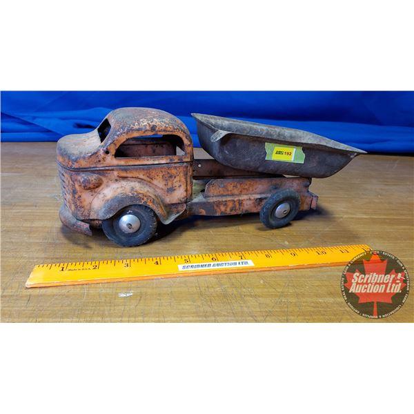 """Antique Metal Toy Dump Truck (4-3/4""""H x 12""""L)"""