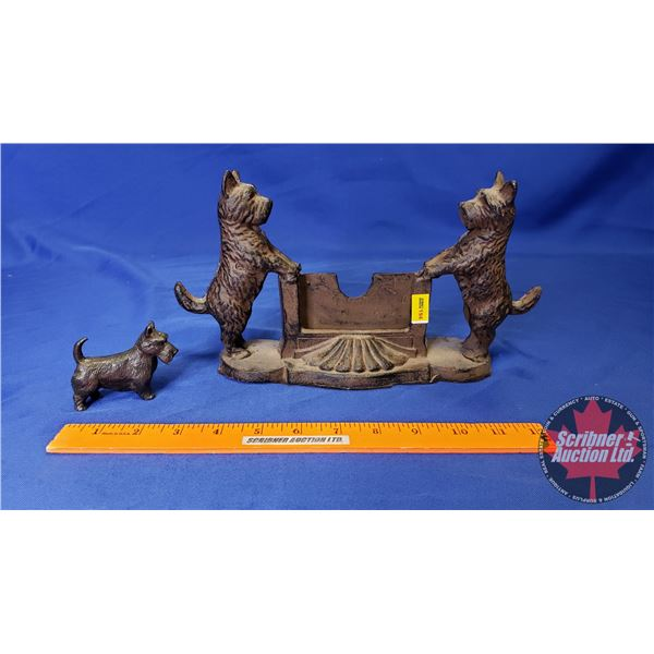 """Cast Iron Business Card Holder """"Terrier"""" Dogs (6""""H)"""
