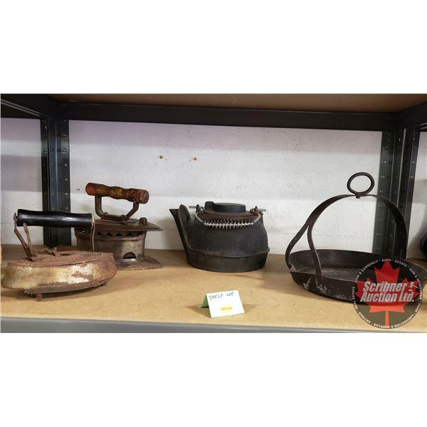 Shelf Lot: Coal Iron, Sad Iron, Cast Pot, Cast Pot w/Handle (See Pics!)