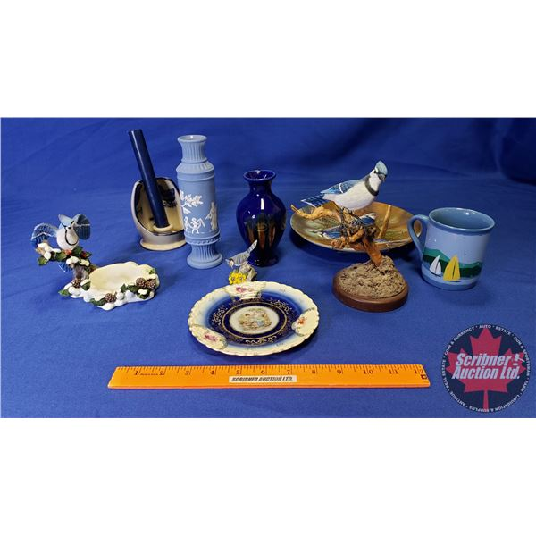 Box Lot: Blue Theme (Bird Figurine, Collector Plate, Vases, Mug, etc)