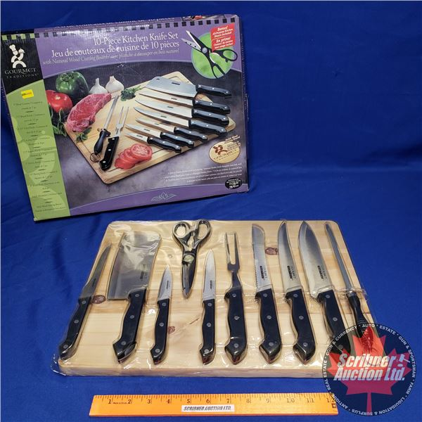 Gourmet Traditions 10pc Kitchen Knife Set w/Natural Wood Cutting Board (Unopened)